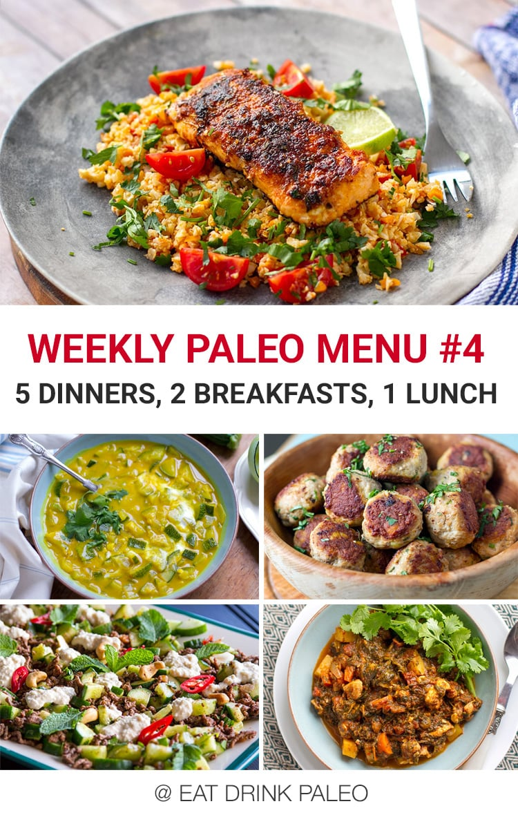 Weekly Paleo Meal Plan Menu #4 - 5 dinners, 2 breakfasts and 1 lunch