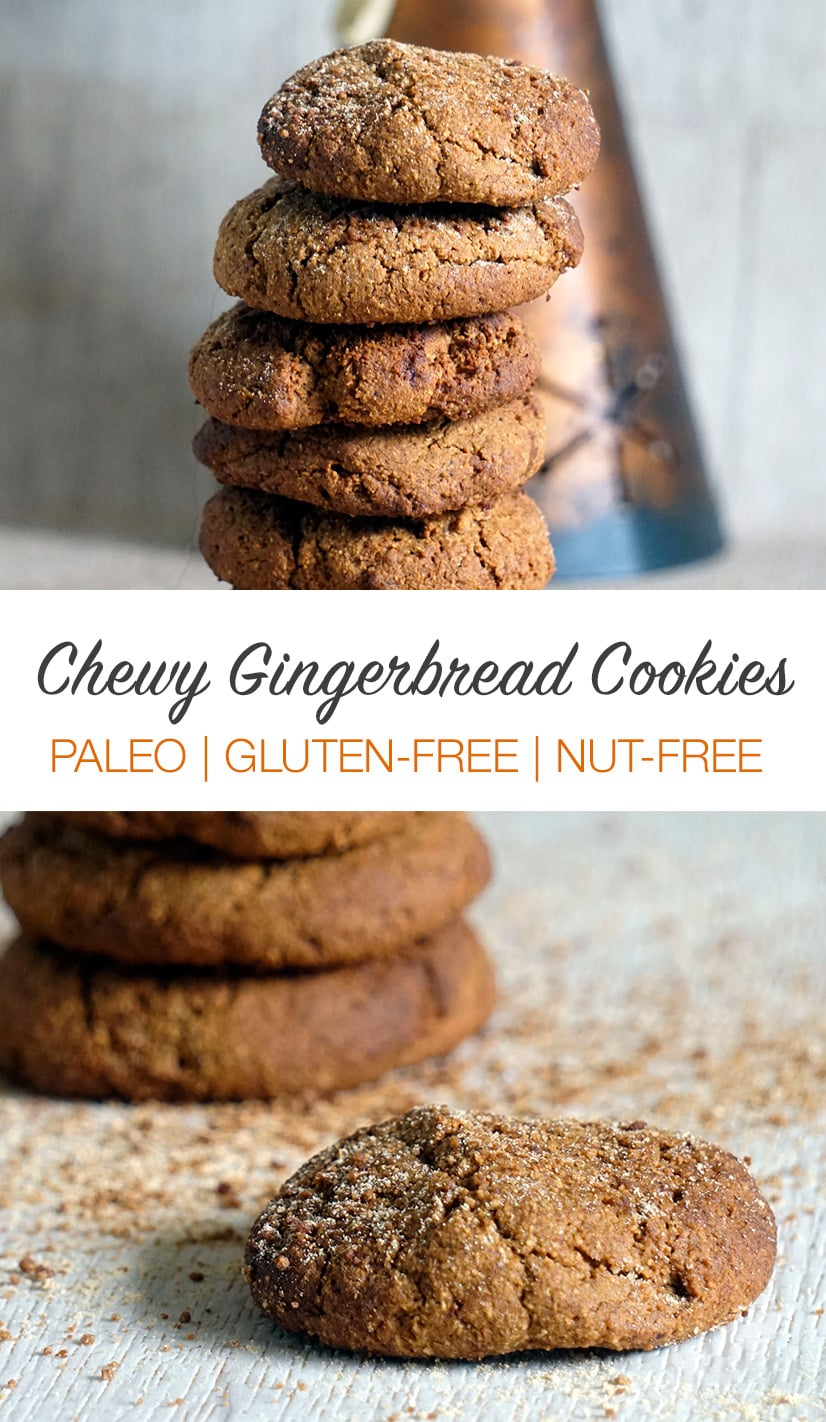 Soft & chewy gingerbread cookies that are paleo, gluten-free and nut-free. These do contain coconut flour! Perfect Christmas cookies that are also a little healthy and contain sweet potato. #cookies #paleo #christmas #baking #glutenfree #gingerbread #paleocookies #paleodesserts