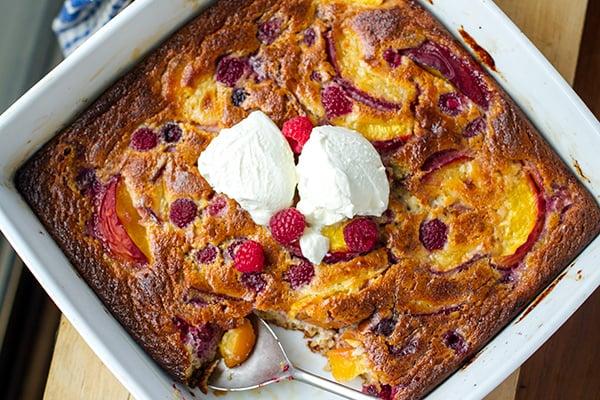 Peach & Raspberry Clafoutis (Paleo, Gluten-free, Dairy-free Dessert)