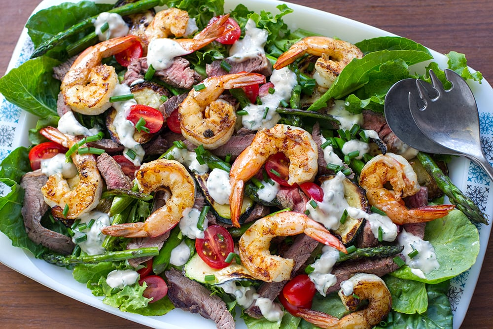 Steak & Shrimp Salad (aka Surf & Turf Salad) - keto, dairy-free