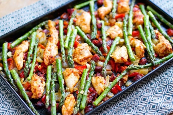 Chicken chorizo asparagus sheet pan bake