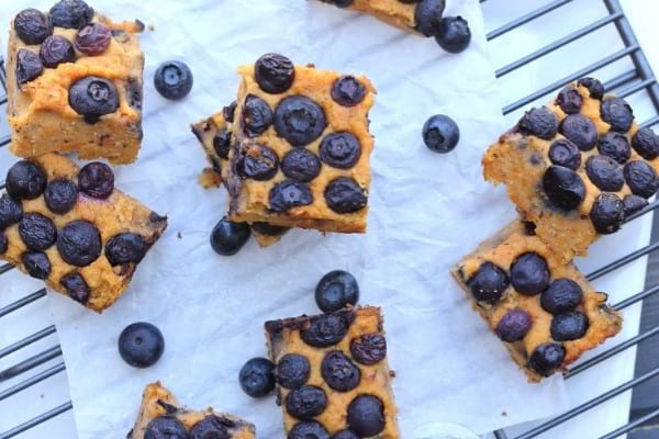 Homemade paleo bar - sweet potato bars with blueberries
