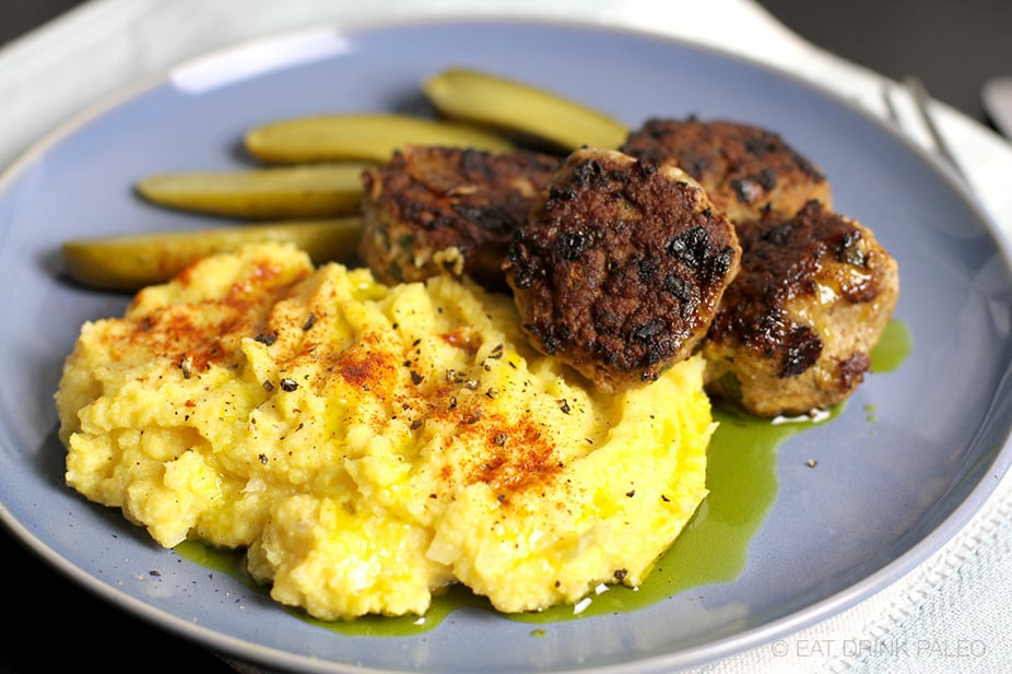 Herb & Garlic Meatballs With Cauliflower Mash | Paleo, Whole30, Gluten-free