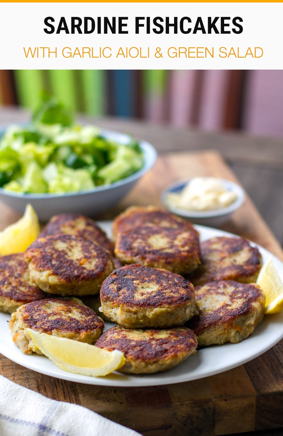 Sardine fishcakes with garlic aioli and green salad