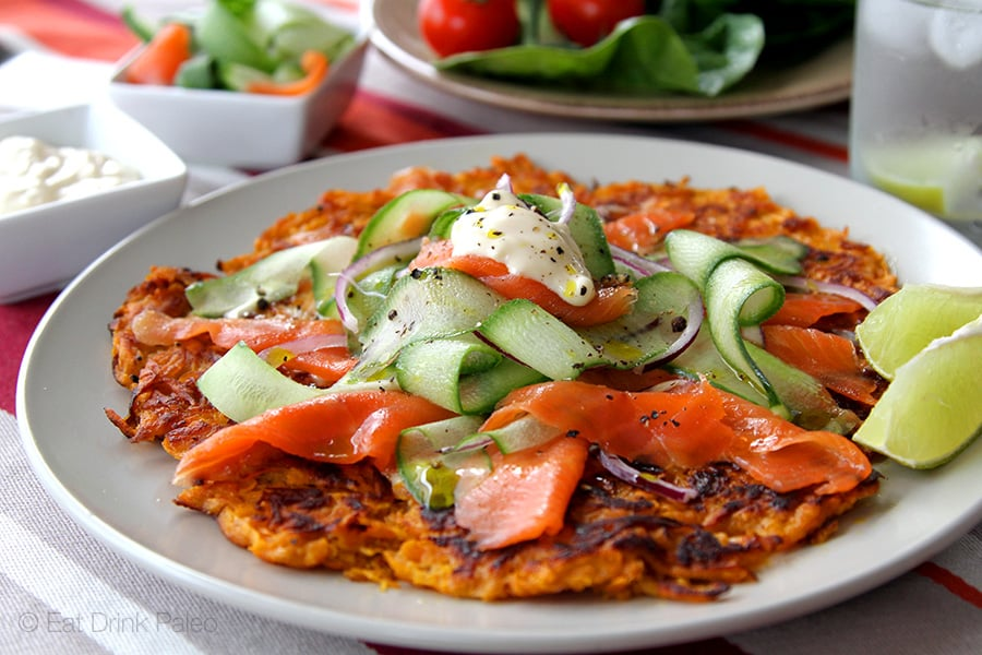 Sweet Potato Rosti With Smoked Salmon Cucumber Salad