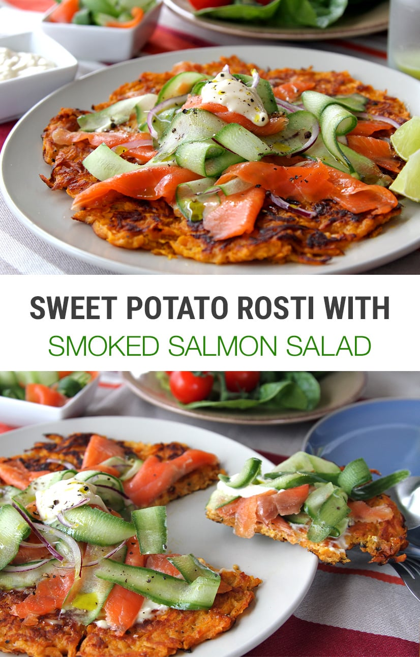 Sweet Potato Rosti With Smoked Salmon & Cucumber Salad | Paleo, Whole30, Gluten-Free