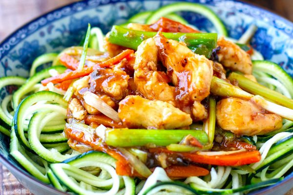 Mongolian Chicken Stir Fry With Zucchini Noodles - Paleo, Gluten-free, Refined Sugar Free