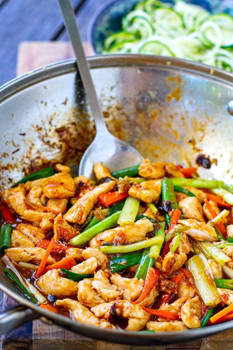 Mongolian Chicken Stir Fry With Zucchini Noodles - Paleo, Gluten-free