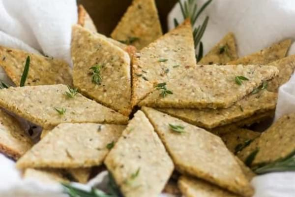 Rosemary and sesame paleo crackers