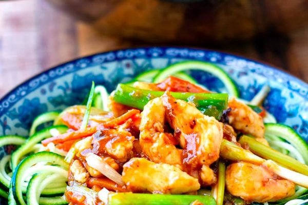 Healthy Mongolian Chicken Stir-Fry With Zoodles