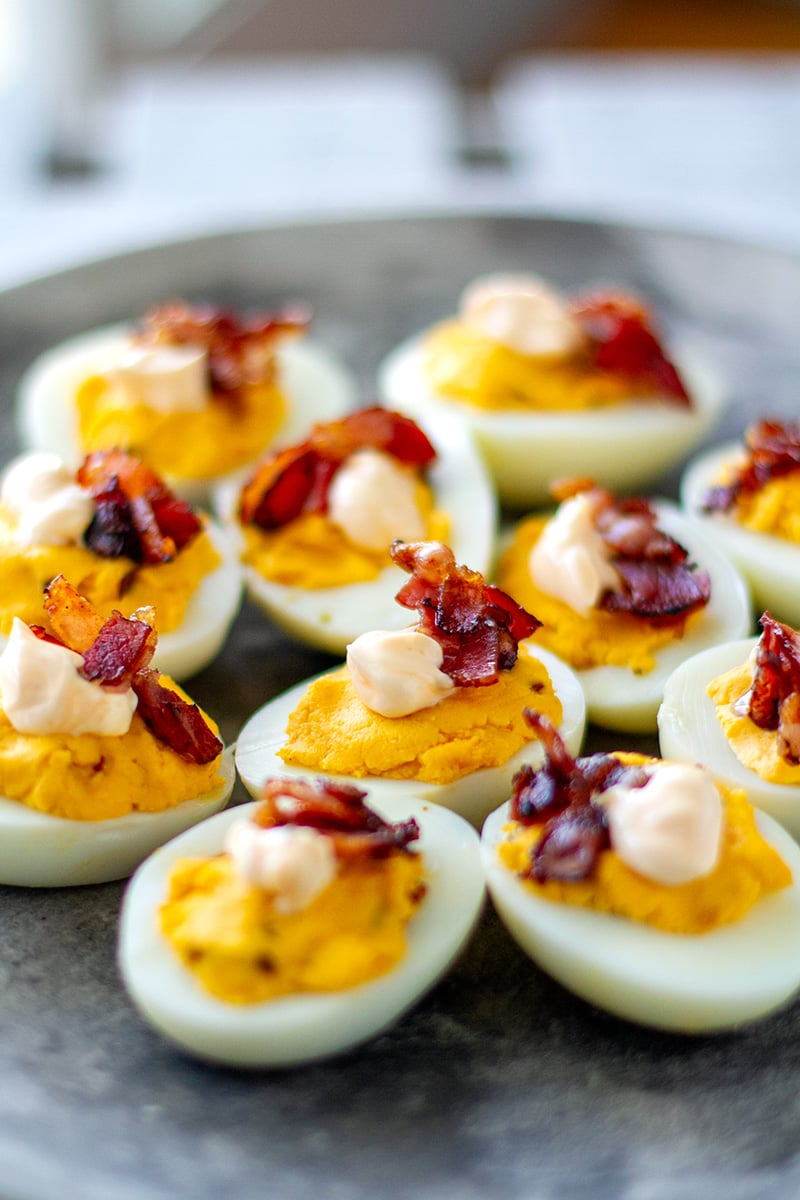 Buffalo Deviled Eggs With Crispy Bacon (Low-Carb, Keto, Paleo-ish, Whole30*)