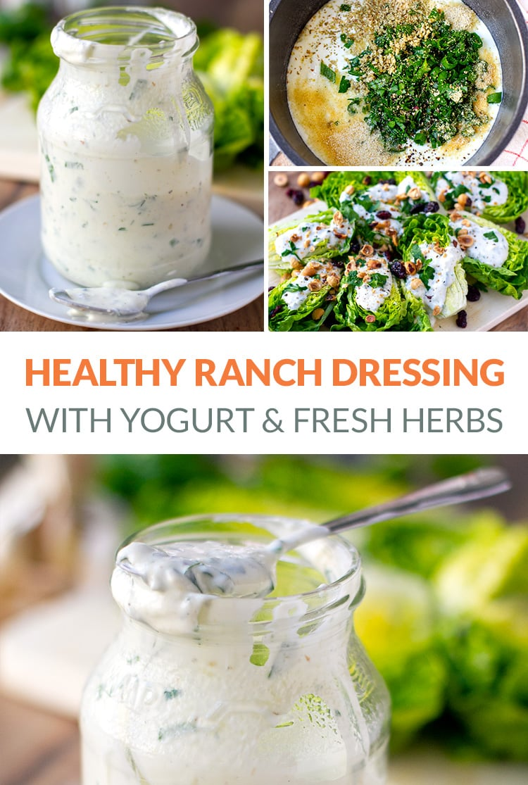 Healthy Yogurt Ranch Dressing With Fresh Herbs & Garlic