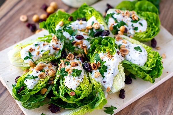 Lettuce Salad With Yogurt Ranch, Toasted Hazelnuts and Dried Cranberries