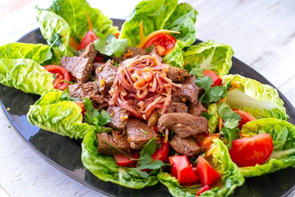 Vietnamese beef salad inspired by shaking beef recipe
