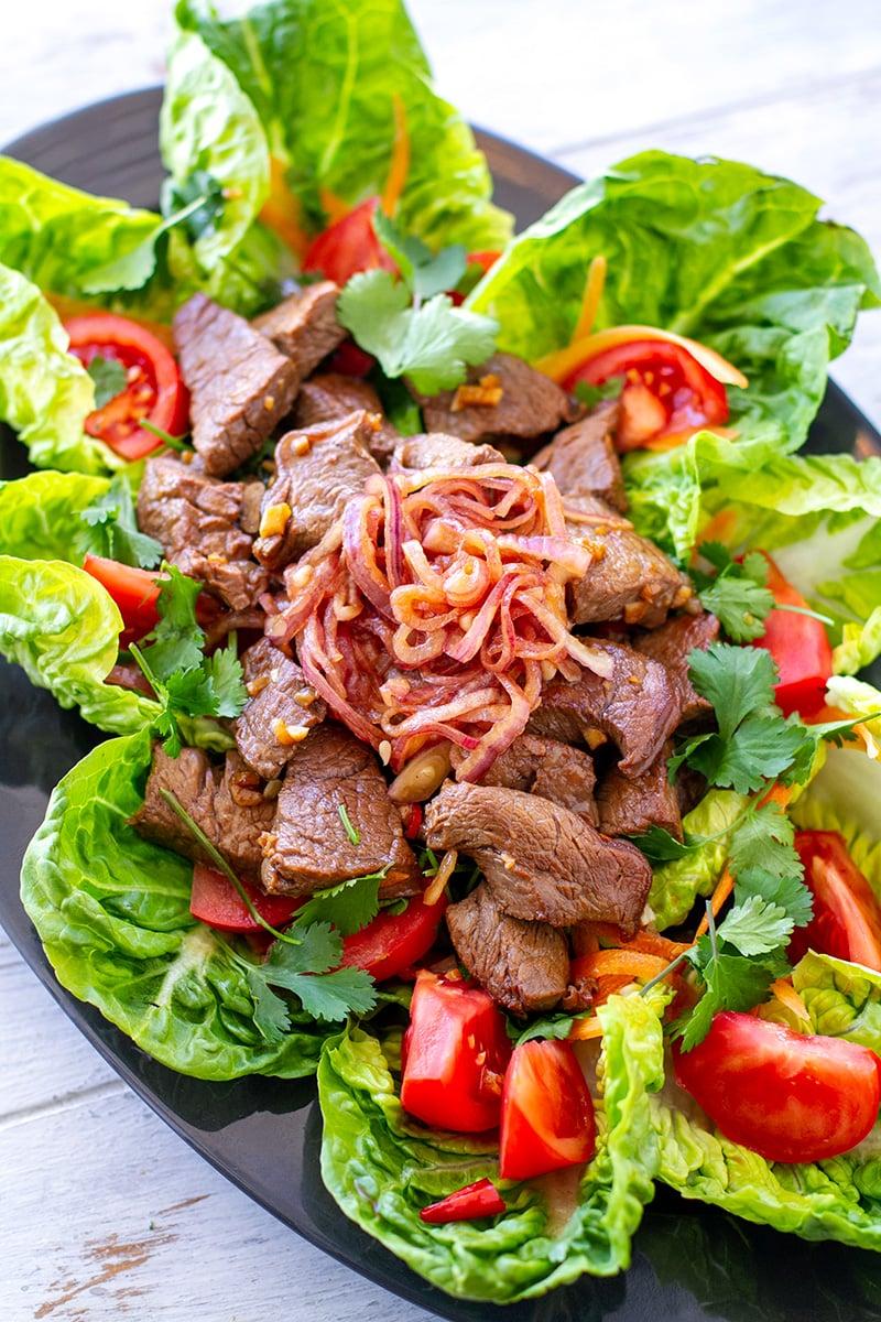 Vietnamese shaking beef salad (bu lo lac) - paleo, gluten-free recipe