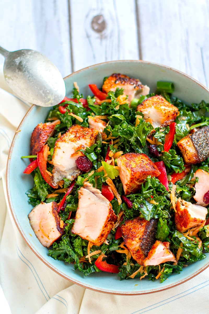 Grilled Salmon Salad Salad With Kale, Peppers & Carrots