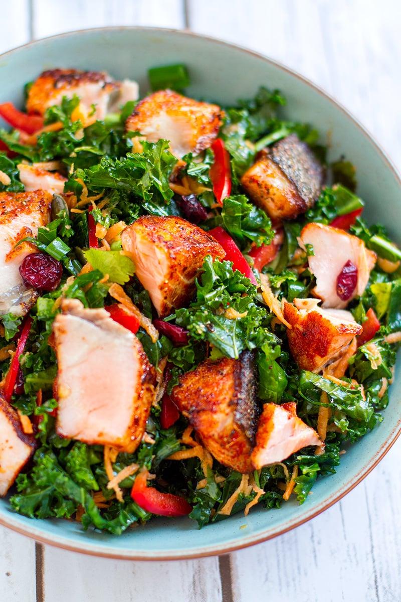 Fish Salad With Cajun Grilled Salmon & Kale