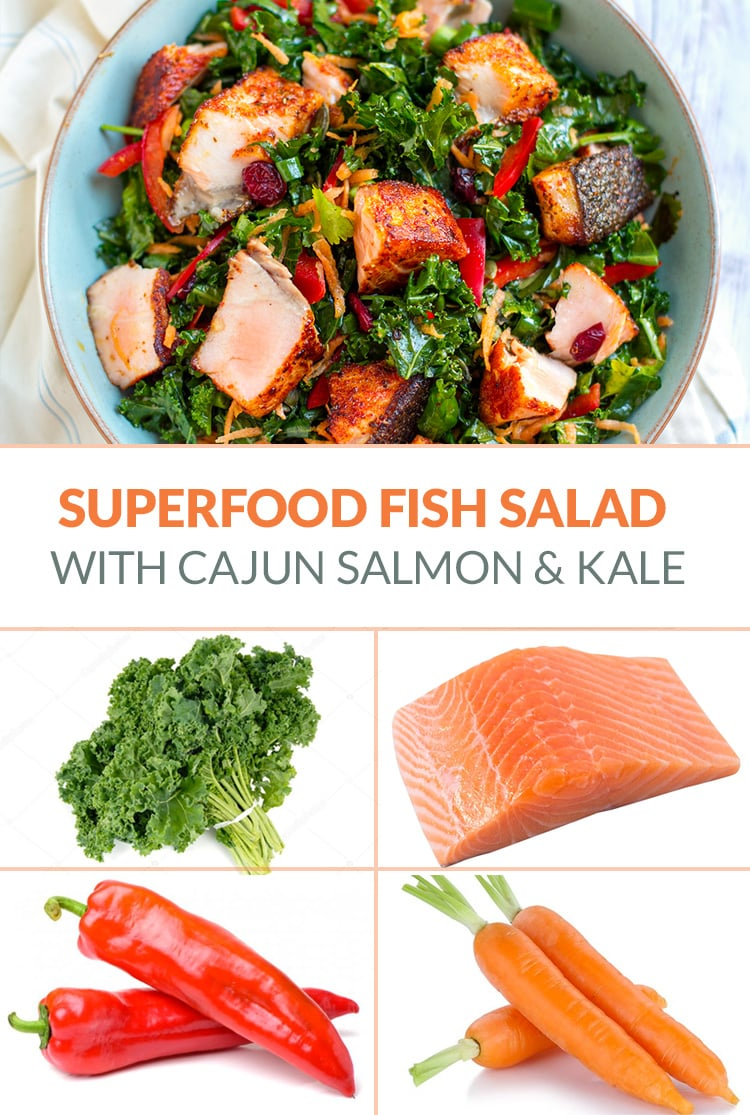 Superfood Salad With Kale, Grilled Salmon, Carrot & Red Peppers