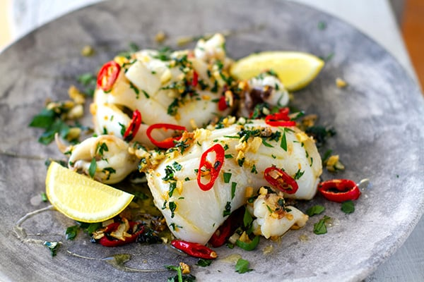 Grilled Squid Recipe With Olive Oil, Garlic, Chili & Parsley