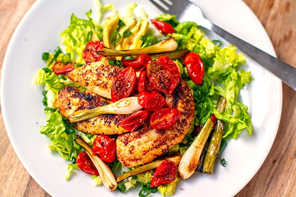 Grilled Chicken Salad With Roasted Cherry Tomatoes & Scallions