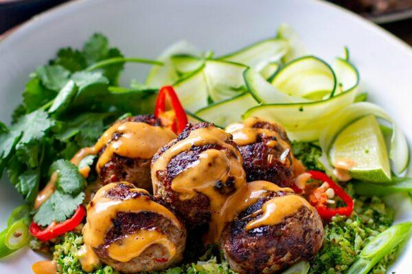Asian Pork Meatballs With Broccoli Rice (Keto, Paleo, Gluten-Free)