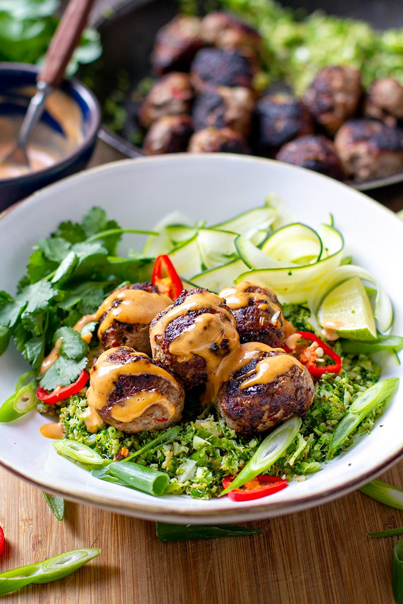 Vietnamese Meatballs With Broccoli Rice & Sriracha Mayonnaise Sauce