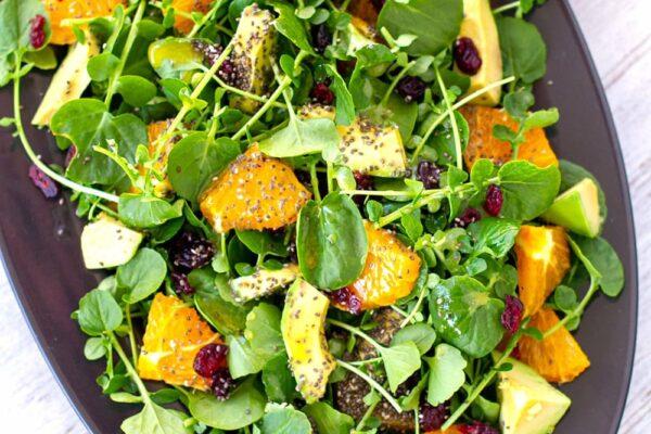 Watercress Salad Recipe With Orange, Avocado & Chia Seeds