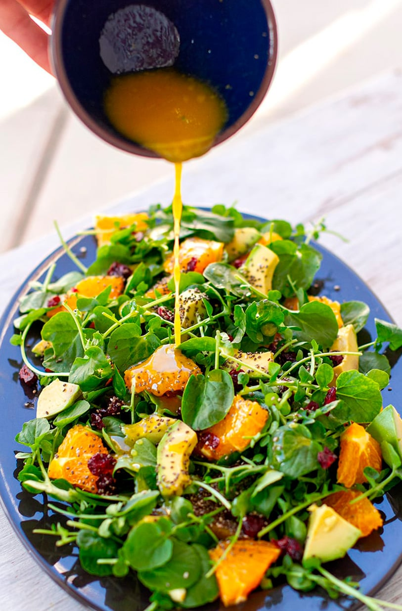 Watercress salad recipe with orange and avocado, plus citrus mustard dressing