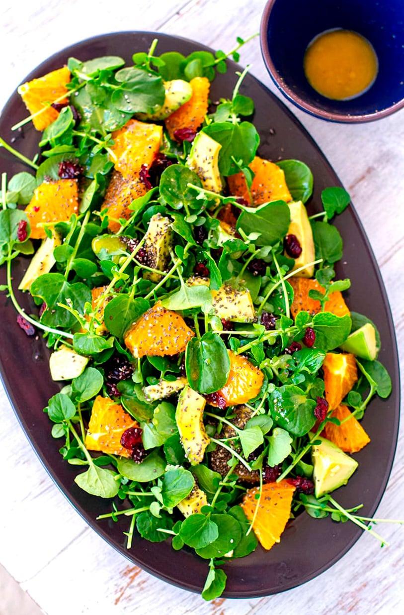 Watercrest salad orange and chia seeds