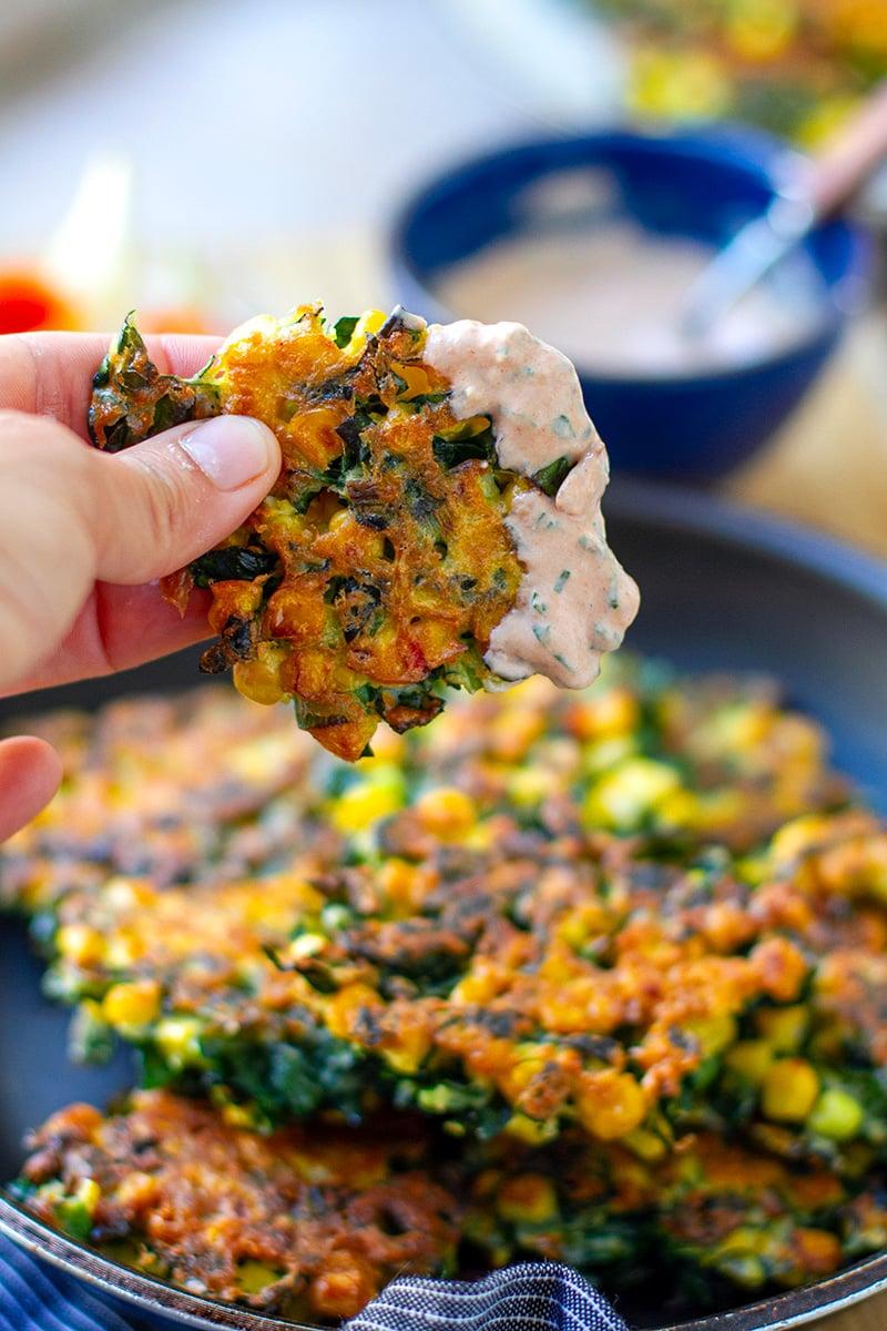 Tuscan Kale & Corn Fritters (gluten-free, nut-free, vegetarian)