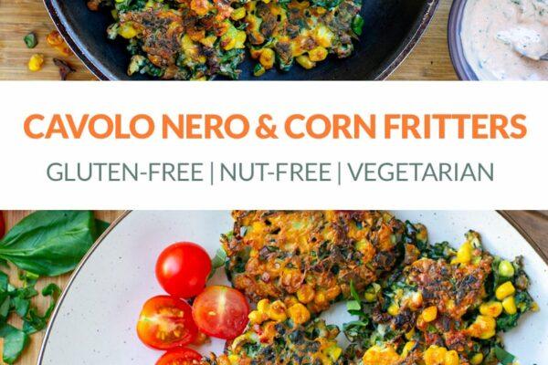 Cavolo Nero & Corn Fritters (gluten-free, nut-free, vegetarian)