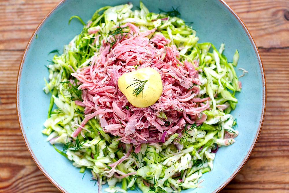 Cabbage Coleslaw With Shredded Ham