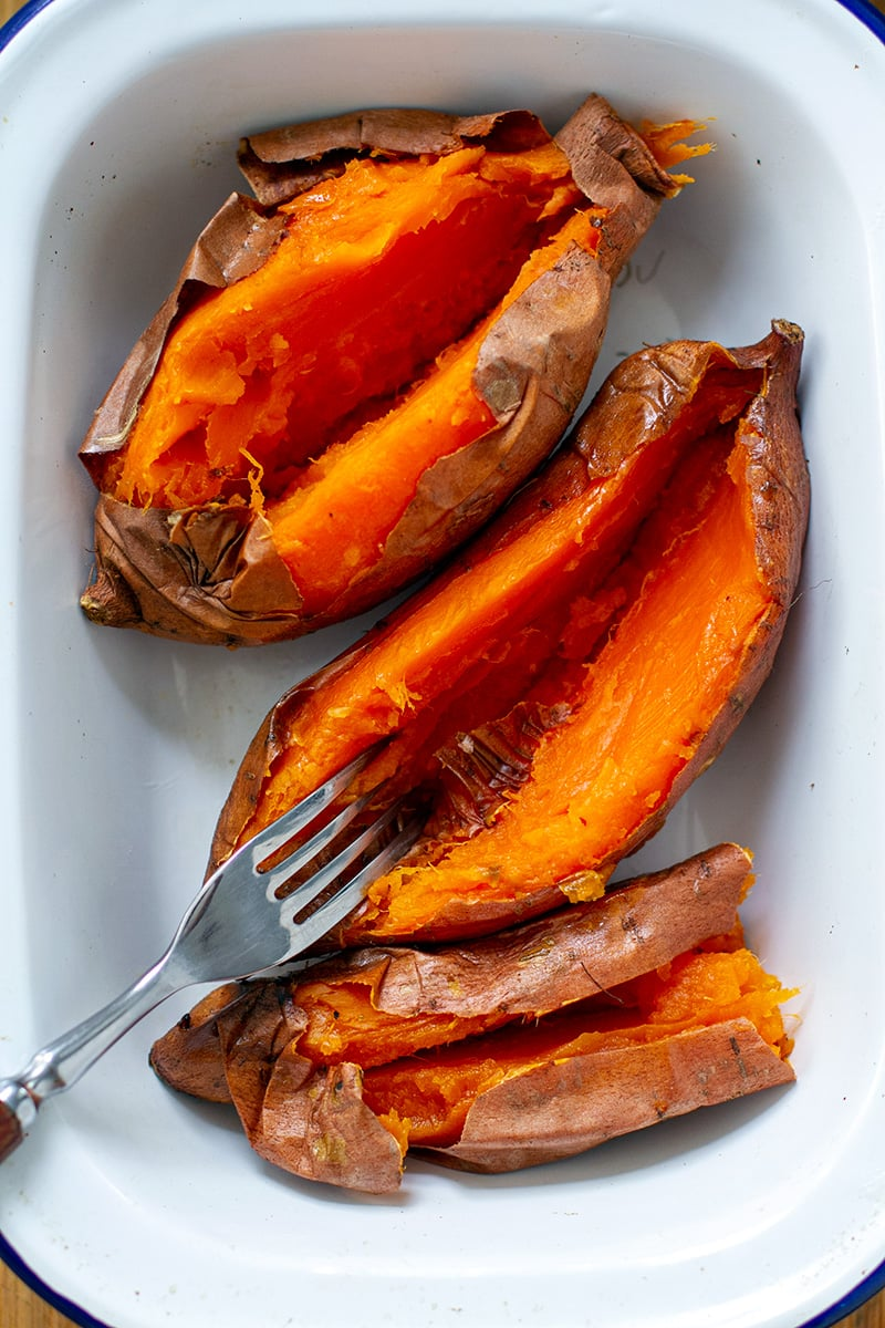 Oven baked sweet potatoes with skin on