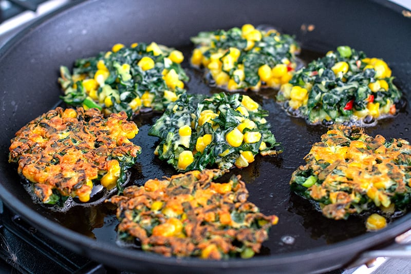 Frying corn fritters