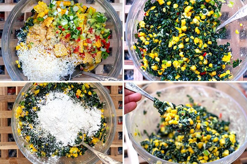 Making corn fritter batter
