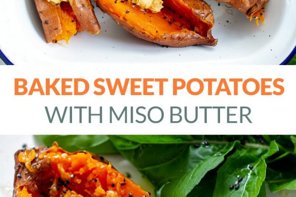 Whole Baked Sweet Potatoes With Miso Butter & Sesame Seeds