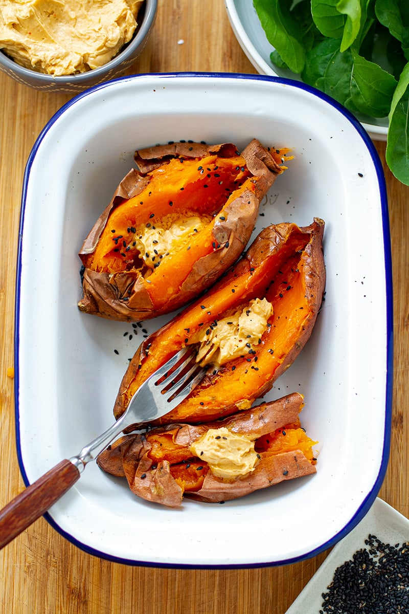 Baked Sweet Potatoes With Miso Butter