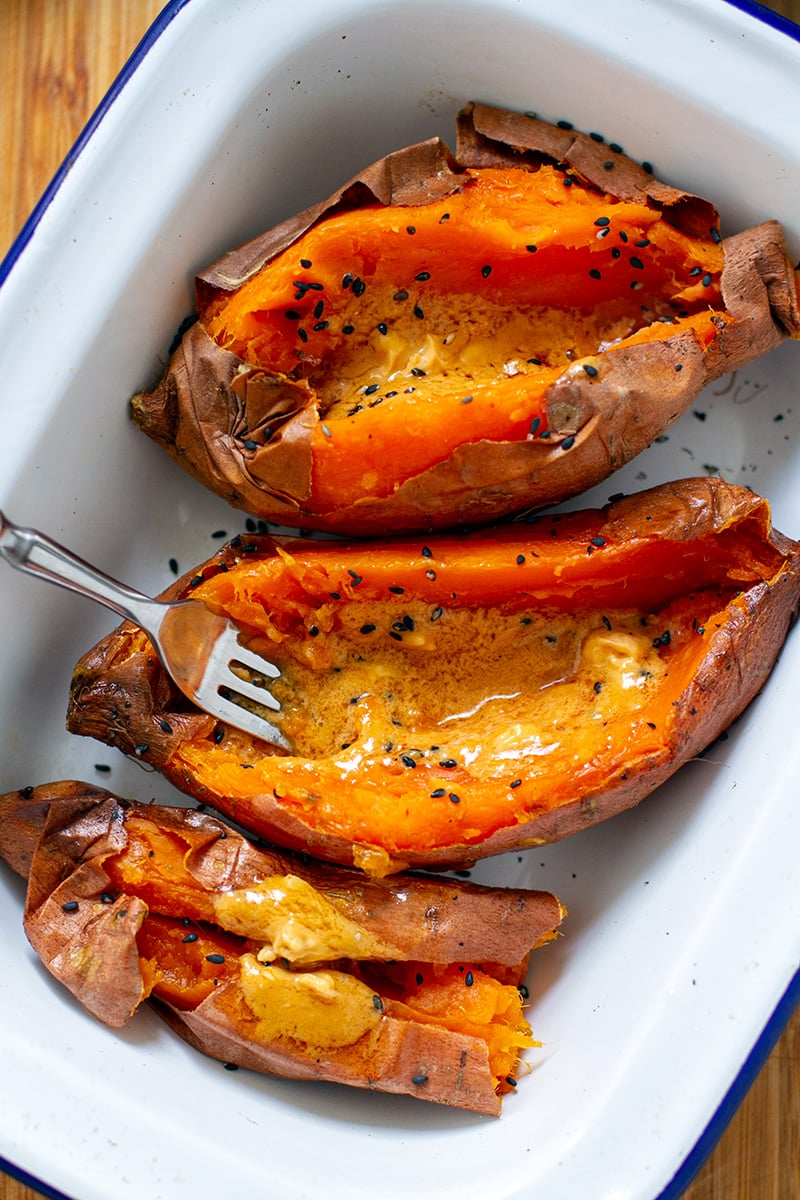 Miso butter with baked sweet potatoes