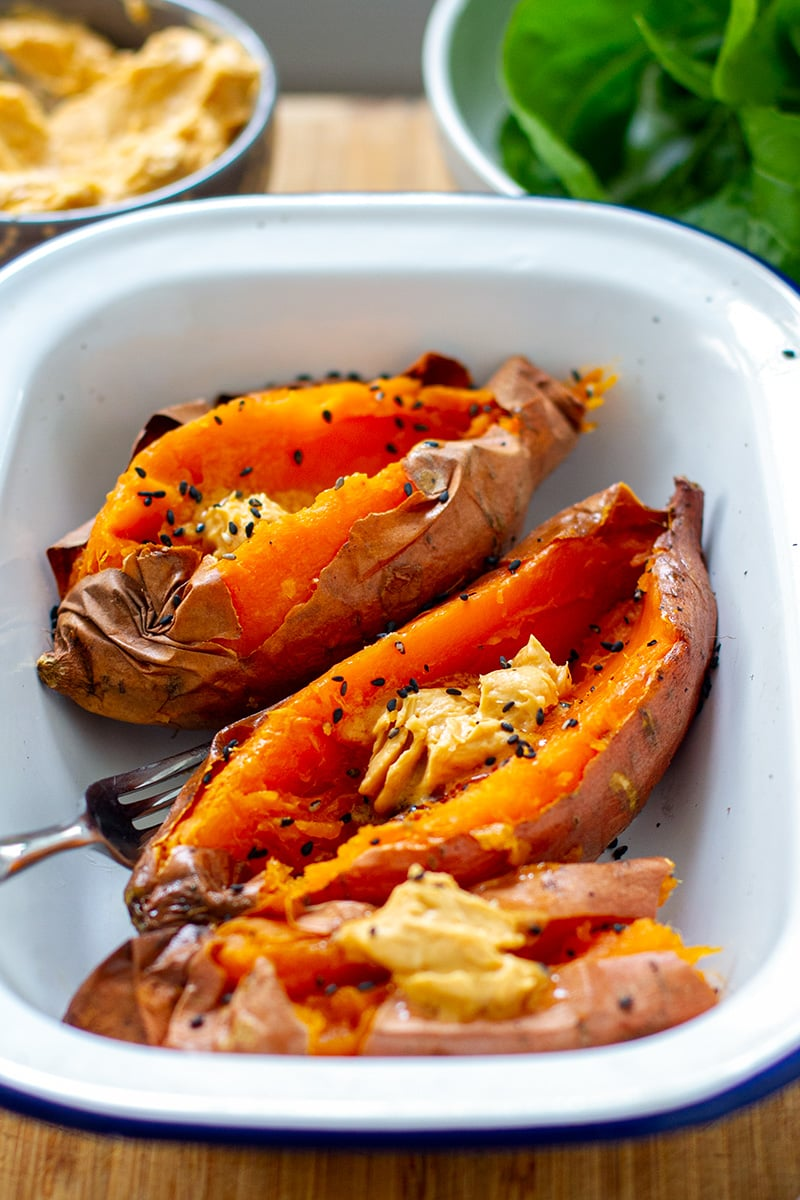 Baked Sweet Potatoes With Miso Butter & Sesame Seeds