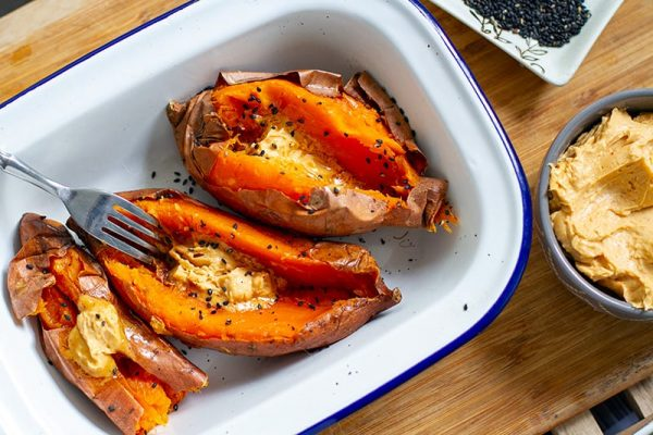 Japanese sweet potatoes with miso butter