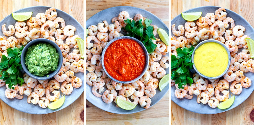 Fried Shrimp Recipe For Parties With Curry Sauce, Red Romesco & Avocado Sauce