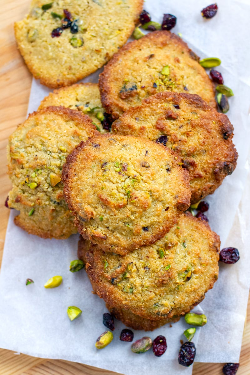 Golden Coconut Cookies With Pistachios & Cranberries