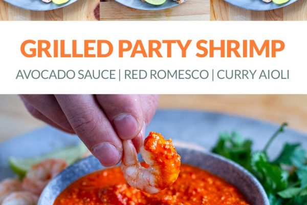Grilled shrimp with sauces: Romesco, curry aioli, avocado