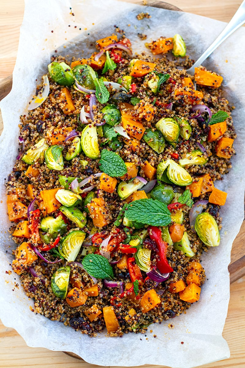 Roasted Quinoa Salad With Sweet Potatoes & Brussels Sprouts