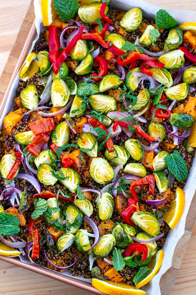 Roasted Warm Quinoa Salad With Brussels Sprouts & Sweet Potatoes