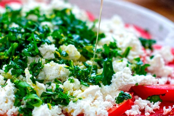 Fresh Tomato Salad With Ricotta & Parsley Lemon Gremolata