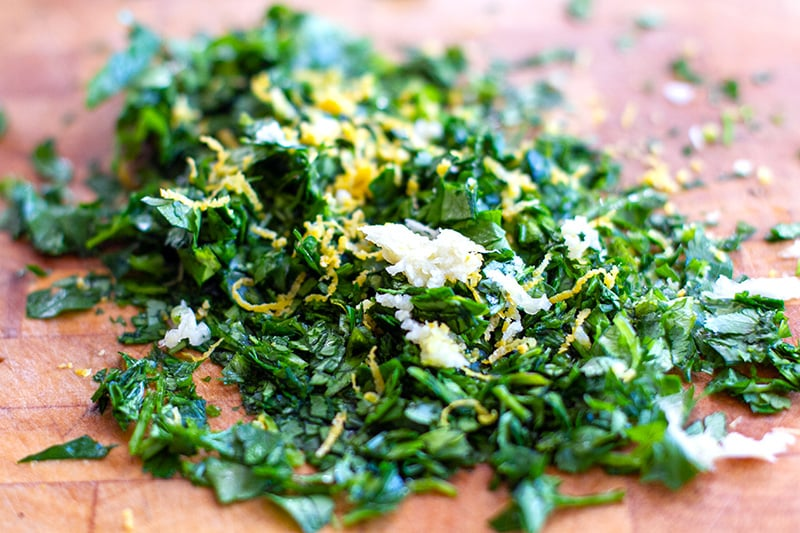 Gremolata with herbs, lemon and garlic