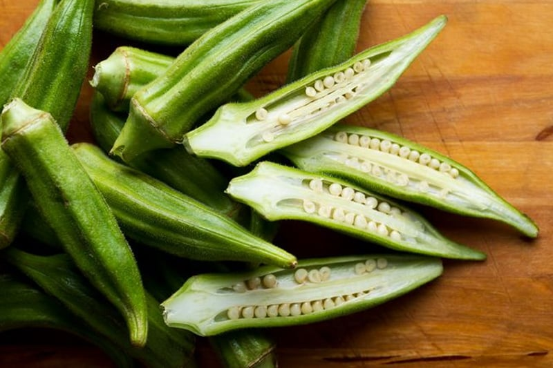 Okra Benefits - sliced okra in halves