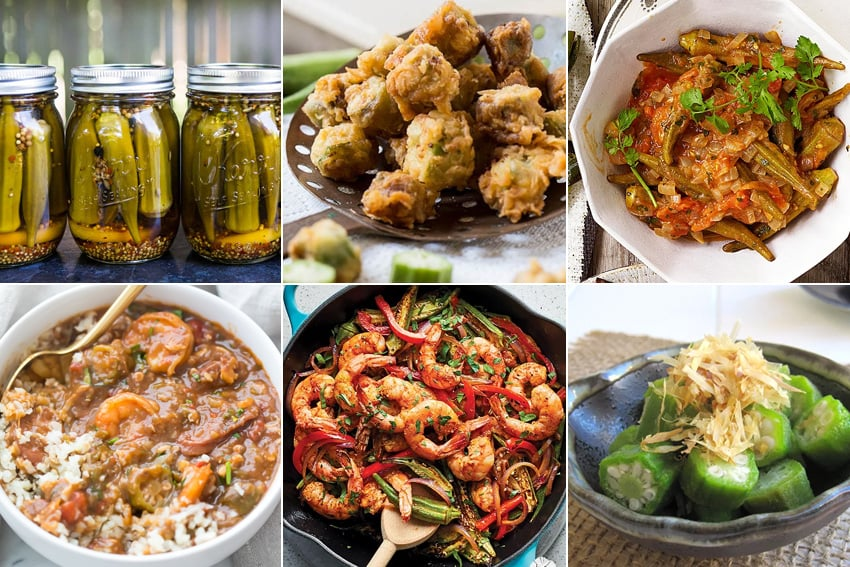 Okra recipes to try - pickled okra, soup, stew, gumbo, fried