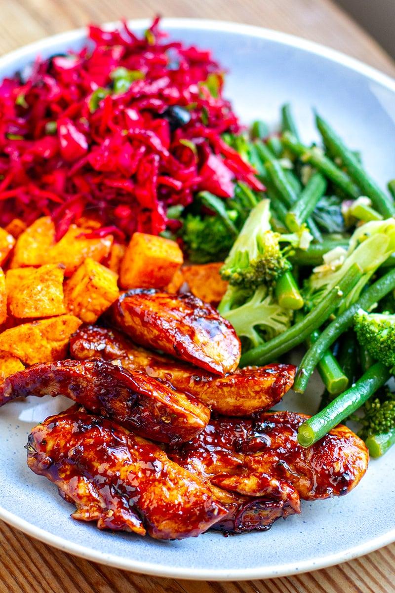 Rainbow chicken dinner (gluten-free, grain-free, paleo)